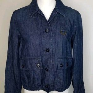 Ralph Lauren Cotton Linen Denim Tie Waist Jacket